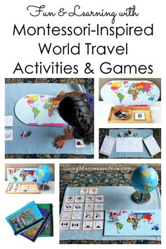 Our Montessori-Inspired World Travel Activity and Game Pack has printables to prepare a variety of geography activities and games for preschoolers through early elementary; perfect for home or classroom - Living Montessori Now Five Themes Of Geography, Geography Activities, Geography For Kids, Teaching Geography, Geography Worksheets, World Geography, Travel Activities, Geography Revision, Gcse Geography
