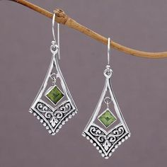 The brick stitch, likewise called the comanche stitch, is another typical yet basic bead stitch. The method the brick stitch looks resembles the peyote stitch. Handmade Sterling Silver, Sterling Silver Earrings, Dangle Earrings, Silver Jewelry, Green Earrings, Silver Necklaces, Silver Rings, Bali Jewelry, Art Deco Jewelry