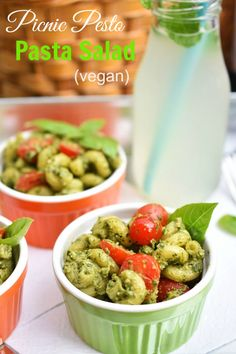 This Picnic Pesto Pasta Salad is so quick to make and tastes incredibly delicious! Pack it up for a road trip! With a fast & easy vegan pesto recipe.