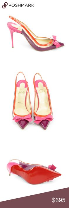 Colorblock Slingback Suspenodo (Sku 51) We offer both new and pre-owned luxury designer shoes. All shoes have been cleaned and sanitized with revolutionary ozone and UVC technology, killing and preventing fungus, bacteria and odor. We own our entire inventory and all designer shoes have be authenticated, sanitized and restored.   Brand New Christian Louboutin Shoes Heels