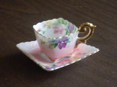 Japanese Tea Cups And Saucers | Vintage 1940s Square Tea Cup and Saucer Occupied Japan by russnmt
