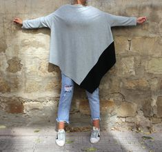 Grey Maxi tunic - Acymmetrical and oversized, this long sleeve top is so chic and easy to wear. Available in plus size as well ! Wear your maxi tunic with jeans or leggings ! It can be worn as a long sleeve maxi dress too :) ♥ We have made this grey maxi tunic / cover up dress long and maxi enough just to keep Cherry Blossomss design language - the Majestic , Gorgeous Style of our all designs ♥ Enjoy the queenly , maxi tunic !  Wear it with tank top under it , wear it jeans , leggings…