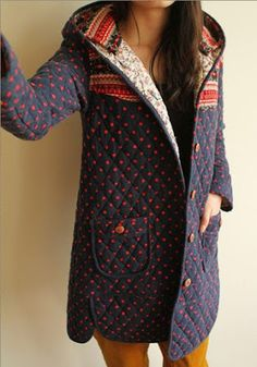 Navy Blue Floral Print Buttons Cotton Blend Hoodie - This looks cozy! Fashion Mode, Womens Fashion, Pretty Outfits, Cute Outfits, Autumn Winter Fashion, Winter Wear, Mantel, What To Wear, Hoodies