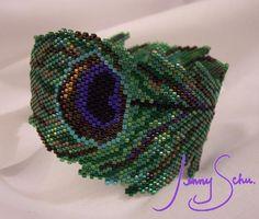 Jenny Schu. Beadwork: Peacock Feather Bangle
