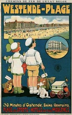 Vintage Railway Travel Poster - Westende - Belgium.