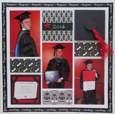 An layout with a few quick candid photos of the graduate. Washi tape used for a frame border, handmade embellishment. School Scrapbook Layouts, Scrapbook Layout Sketches, 12x12 Scrapbook, Scrapbooking Layouts, Graduation Scrapbook, Graduation Cards, Picture Layouts, Anna Griffin Cards, School Pictures