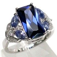 Wish | Blue Sapphire Zircon 925 Sterling Silver Wedding Ring Jewelry Size 6-10