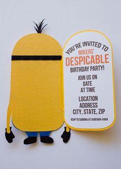 minion invitations | ... invitation, pixar character, birthday party, minions cutout, minion