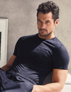 DAVID GANDY FOR AUTOGRAPH Supima® Slim Fit Short Sleeve Pyjama Top with Modal Navy T071085 £22.50