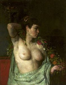"""Henryk Piątkowski: """"Bacchante"""", circa 1876, oil on canvas, Dimensions: 88 × 69.5 cm (2.8 × 2.2 ft), Current location: National Museum in Warsaw."""