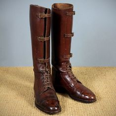 pair edwardian officer's leather riding boots - photo angle #2