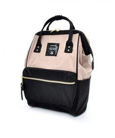 Love my Anello! Mini Lightweight Nylon Square Rucksack Beige and Black Travel Luggage, Luggage Bags, Nylons, Japan Bag, Cute Mini Backpacks, Denim Tote Bags, Bags 2017, Pink Beige, Fashion Bags