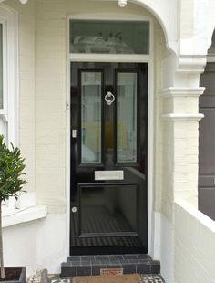 traditional look upvc doors Porch Doors, Front Door Entrance, House Front Door, Front Entrances, Front Door Design, Front Door Colors, Terrace House Exterior, Victorian Cottage, Victorian Terrace