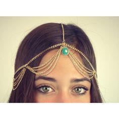 Chain Headpiece Chain Headdress Head Chain ($30) ❤ liked on Polyvore featuring accessories, hair accessories, grey and hair chain accessories