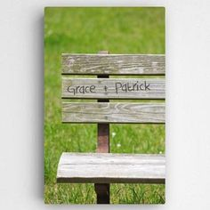"Park Bench Romance Canvas $64.99 Availability: Usually Ships in 6-8 Business Days  Take a trip down memory lane with the Park Bench Canvas. This fresh gallery wrapped canvas illustrates a weathered park bench with names shown as hand carved for a personal feel.  Canvas Size: 14"" x 24""  Personalization: 2 Names up to 10 Characters per name  Market: Valentine's Day, Couples Gifts, Home Decor  Ships from MN by UPS http://www.finegifts.labellabaskets.com/"