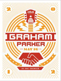 Graham Parker designed by Marc Ferrino Graham Parker, Rock And Roll Bands, Creative Typography, Poster Design Inspiration, Vintage Graphic Design, Design Competitions, Poster Making, Design Firms, Your Design