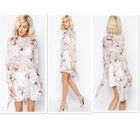 Wish | Fashion Women Sexy Perspective Shirt  Magnolia floral Printed  Long-sleeve Blouse