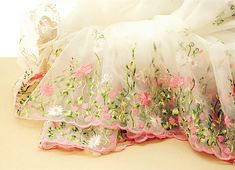 1 yard Flower Lace Fabric Organza Fabric Embroidered Florals