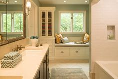 Renae Keller portfolio- built ins under bench, tower on each end, wainscot on walls