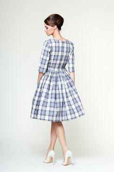 Edith Blue Tartan Dress by Mrs Pomeranz van mrspomeranz op Etsy