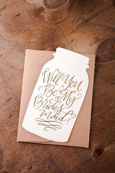 Mason Jar Will You Be My Bridesmaid Card