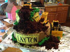 Big truck digging cake happy birthday cake