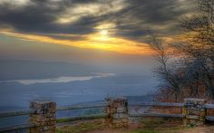 The Winter Solstice sunset as seen from atop Arkansas's Mt. Magazine