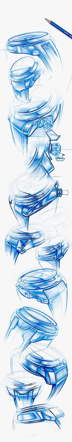 Blue Watch sketches by Thomas Funder - stylish watch for mens cheap watches online mens rose gold watch cheap ad Id Design, Sketch Design, Design Concepts, Graphic Design, Cool Sketches, Watch Sketches, Mens Rose Gold Watch, Watch Drawing, Industrial Design Sketch