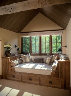 Rustic Guest Bedroom with Elm Wood Old Growth Hardwood Walnut Premium Select Paneling, Nightwood Oak Island Storage Bed