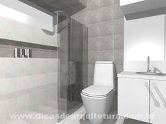 Banheiro clean e elegante com hidro vertical e linhas retas e horizontais. http://dicasdearquitetura.com.br/banheiro-clean-e-elegante/