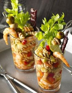 Bloody Mary Shrimp and Pasta Salad A great way to start your game day celebration- hand held Bloody Mary salads with all the extras. Pasta Salad Recipes, Seafood Recipes, Appetizer Recipes, Appetizers, Cooking Recipes, Yummy Recipes, Cooking Tips, Recipies, Healthy Recipes