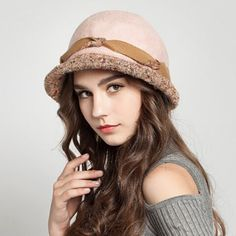 Fashion crimping bowler hat for women warm wool winter hats