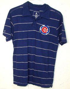 Antigua Mens Chicago Cubs Blue 100% Cotton Short Sleeve Polo Shirt Medium M #Antigua #PoloRugby