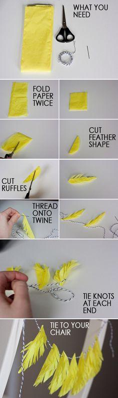 A falta de plumas, buenos son trocitos de papel seda. Sigue paso a paso este tutorial y decora tus eventos, con este sencillo Handmade.