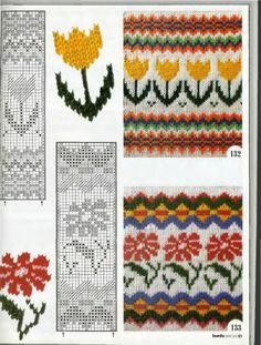 California poppy and Tulip fair isle design Fair Isle Knitting Patterns, Knitting Charts, Knitting Stitches, Knitting Designs, Knitting Projects, Fair Isle Pattern, Crochet Chart, Knit Or Crochet, Crochet Patterns