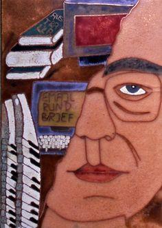 """""""Meine Hobbies und ich"""", Selbstporträt, Email Cloisonné, geschliffen, 10 x 15 cm"""