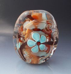 Lampwork Focal Handmade Bead  Peach Coral by MajesticGlassWorks, $30.00