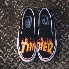 "3b98213d69c Amateur Store on Instagram  ""Vans x  thrashermag 2017 Slip On Pro Flames  Size   12 IDR 1.799.000  vans  vansthrasher  vansxthrasher  thrasher ..."