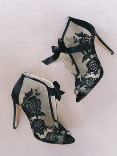 Statement wedding shoes for bride -black lace wedding shoes - Check out more Paris-themed wedding ideas on WeddingWire! {Laura Gordon Photography}