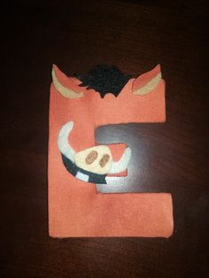 "Lion King name letters wrapped in fabric! Pumba ""E"""