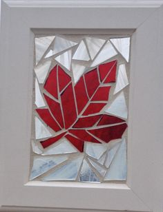 Maple Leaf Stained Glass Mosaic Suncatcher - Canada Flag Sun Catcher - Red and White Patriotic Canada Day Decoration by NiagaraGlassMosaics on Etsy
