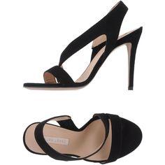 eb94a04309e Pura López Sandals ($160) ❤ liked on Polyvore featuring shoes, sandals,  black, elastic shoes, black shoes, leather sandals, leather sole shoes and  black ...