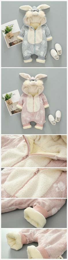 2-Color Cute Cartoon Rabbit Baby Winter Warm Hooded Jumpsuit