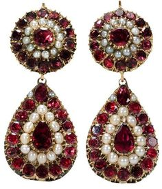 Very Scarce Georgian Garnet & Pearl Earrings.  Possibly English,  circa 1820.