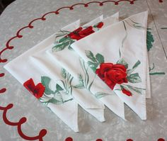 Retro Rose and Wheat Shaft Cotton Napkins 4-Piece by FelicesFinds