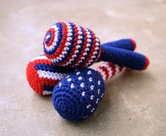 Patriotic baby rattle, striped, dotted, red white and blue, lightweight teether, baby shower gift idea, 4th of july, Choose the one you like - pinned by pin4etsy.com