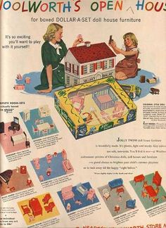 Vintage Woolsworth Dollhouse & Furniture.  Gimme.