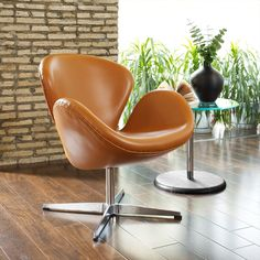 Arne Jacobsen Terracotta Aniline Leather Swan Chair | Overstock.com    $660