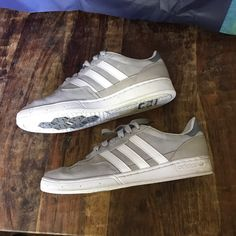 detailed look fa4fc 15f36 Shop Men s adidas Gray White size 8 Sneakers at a discounted price at  Poshmark. Gray Suede and white stripes.