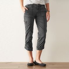 Women's SONOMA Goods for Life™ Convertible Utility Pants, Size: 12, Grey (Charcoal)